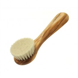 Olive Wood Facial Brush with Soft Goats Hair Bristles (Super Soft Strength)